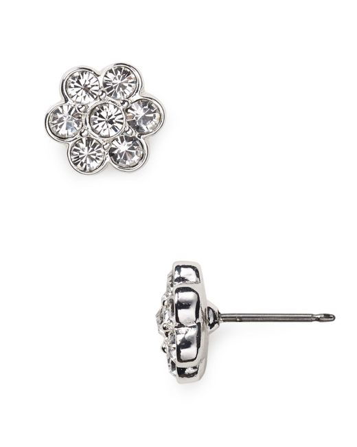 Carolee - Gray Floral Stud Earrings - Lyst
