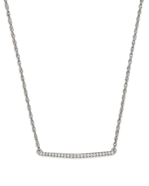 Bloomingdale's - Diamond Bar Necklace In 14k White Gold, .10 Ct. T.w. - Lyst