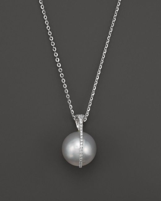 Tara Pearls | Metallic South Sea Cultured Pearl And Diamond Pendant Necklace In 18k White Gold, 15"