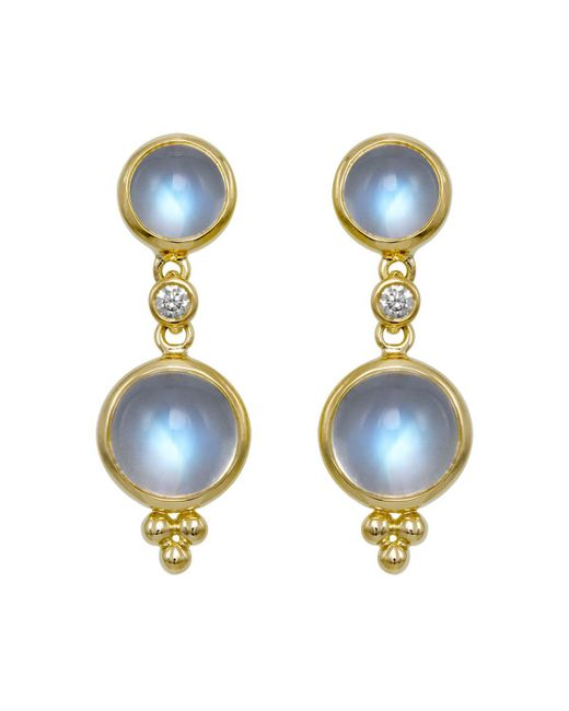 Temple St. Clair | Double Drop Earrings With Royal Blue Moonstone And Diamonds In 18k Yellow Gold | Lyst