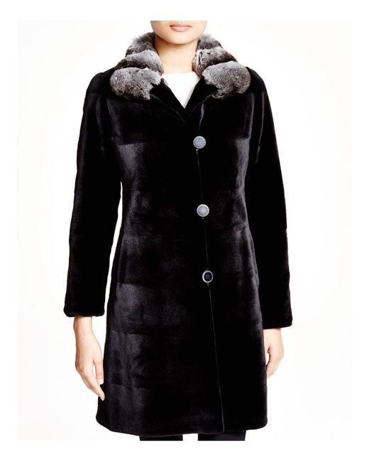 Maximilian | Black Maximilian Sheared Mink Reversible Coat With Chinchilla Collar | Lyst