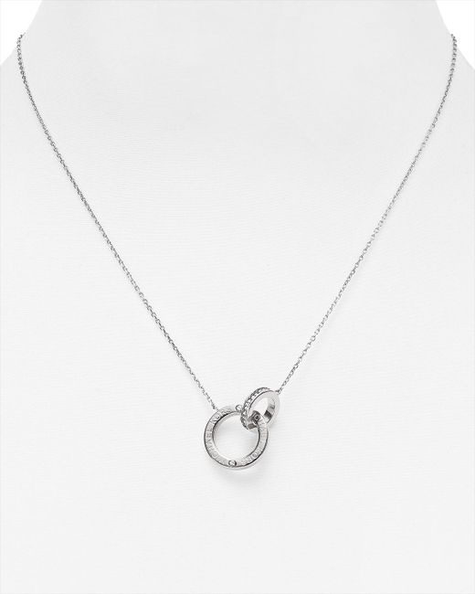 "Michael Kors | Metallic Interlocking Logo Ring Pendant Necklace, 18"" | Lyst"
