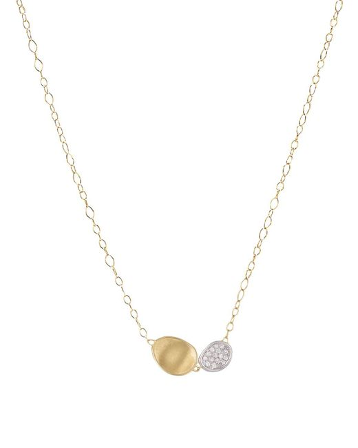 Marco Bicego | Multicolor 18k White And Yellow Gold Lunaria Two Pendant Diamond Necklace, 16.5"