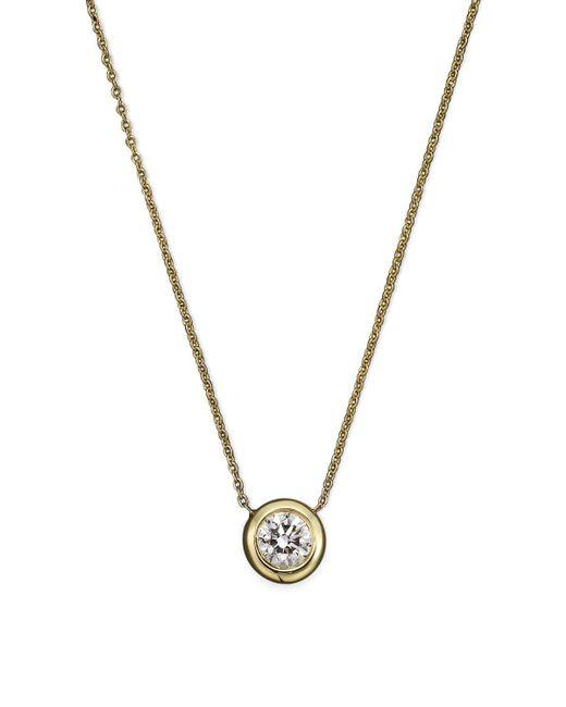 "Roberto Coin | Metallic 18k Yellow Gold Diamond Bezel Necklace, 16"" | Lyst"