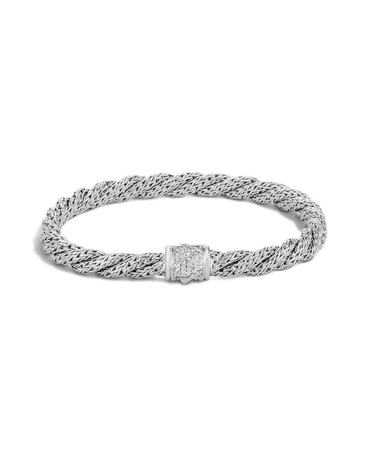 John Hardy | White Classic Chain Sterling Silver Extra Small Flat Twisted Chain Bracelet With Diamond Pavé | Lyst