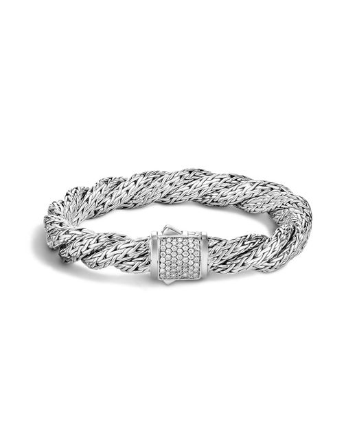 John Hardy | White Classic Chain Sterling Silver Medium Flat Twisted Chain Bracelet With Diamond Pavé | Lyst
