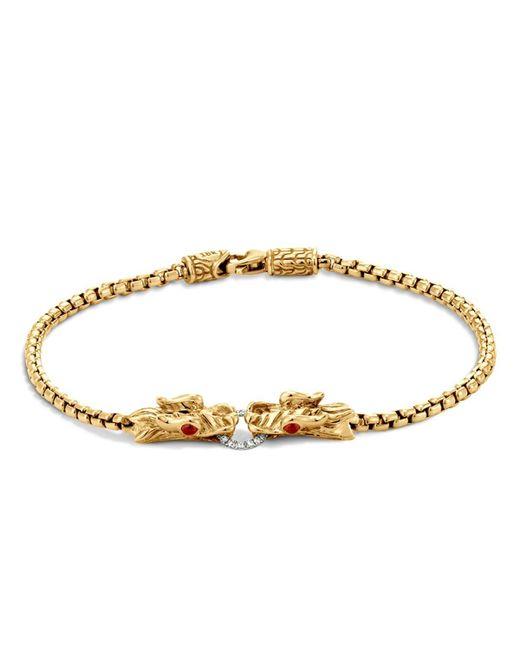 John Hardy | Metallic Naga 18k Yellow Gold Box Chain Bracelet With Diamonds And African Ruby Eyes | Lyst