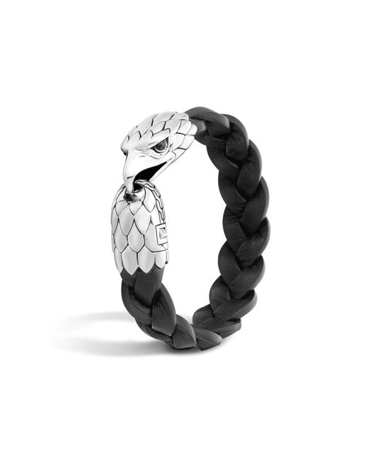 John Hardy | Classic Chain Silver Eagle Head Bracelet On Black Braided Leather With Black Chalcedony Eyes | Lyst