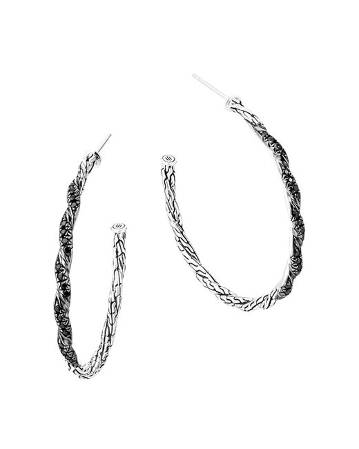 John Hardy | Classic Chain Sterling Silver Lava Medium Hoop Earrings With Black Sapphire | Lyst