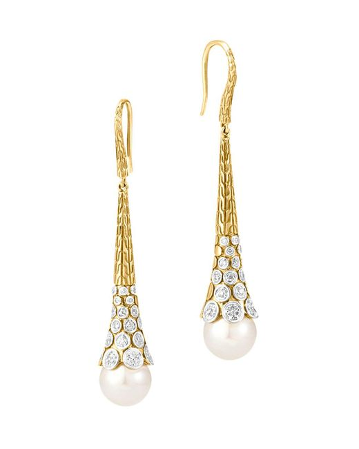 John Hardy | Metallic Dot 18k Yellow Gold Diamond Pavé Earrings With Cultured Freshwater Pearls | Lyst
