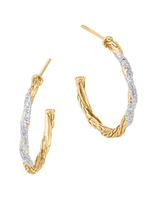 John Hardy | Metallic Classic Chain 18k Gold Diamond Pave Small Hoop Earrings | Lyst