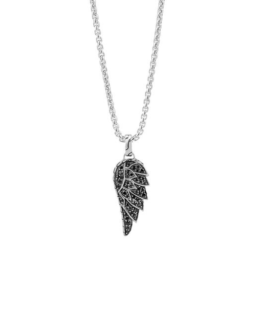 John Hardy | Metallic Classic Chain Silver Lava Eagle Wing Pendant Necklace With Black Sapphire, 26"