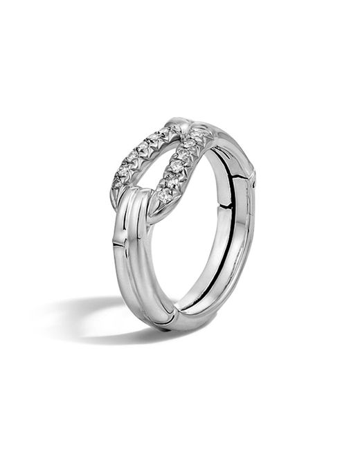 John Hardy | White Bamboo Silver Diamond Hook Ring | Lyst
