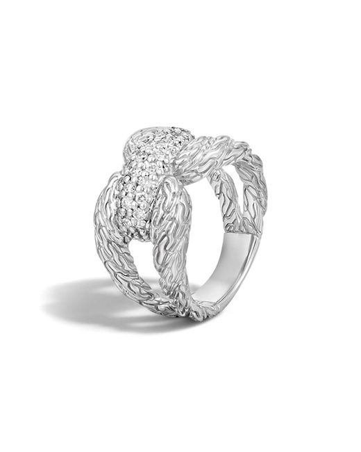 John Hardy | Metallic Classic Chain Sterling Silver Diamond Pave Ring | Lyst