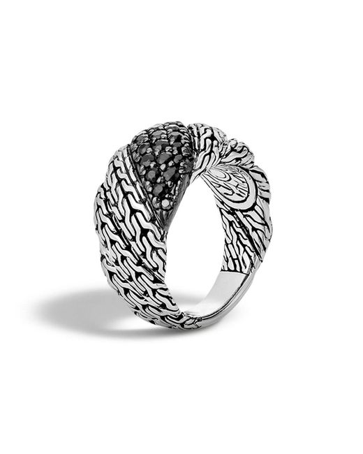 John Hardy | Metallic Classic Chain Sterling Silver Lava Flat Twisted Chain Ring With Black Sapphire | Lyst