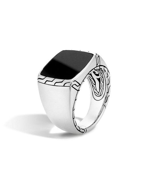 John Hardy | Batu Classic Chain Sterling Silver Signet Ring With Black Jade | Lyst