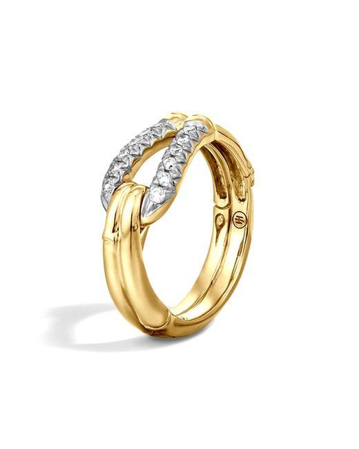 John Hardy   Metallic Bamboo 18k Gold Diamond Hook Ring   Lyst