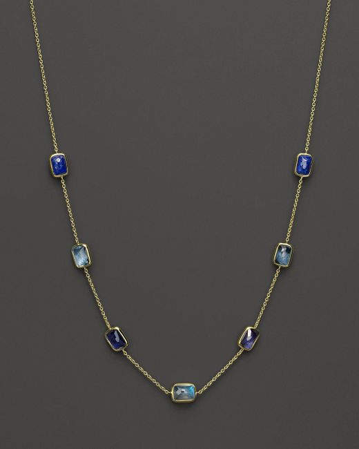Ippolita | Blue 18k Gold Rock Candy Mini Gelato Rectangular Station Necklace In Liberty, 16"