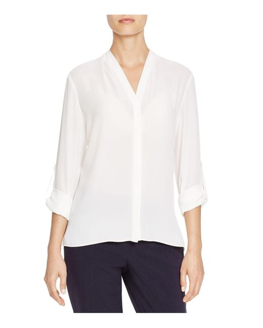 T Tahari | White Taylor Roll Sleeve Blouse | Lyst