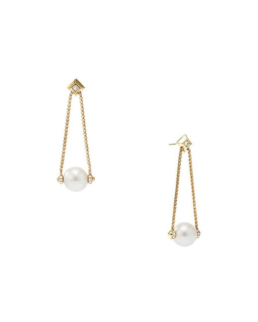 David Yurman - Metallic Solari Pearl Drop Earring With Diamonds In 18k Yellow Gold - Lyst