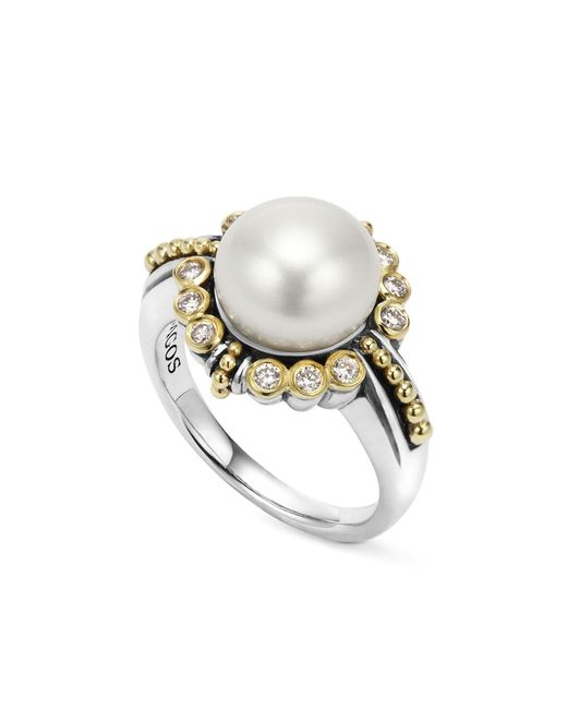 Lagos | Metallic Sterling Silver And 18k Gold Cultured Freshwater Pearl Ring With Diamonds | Lyst