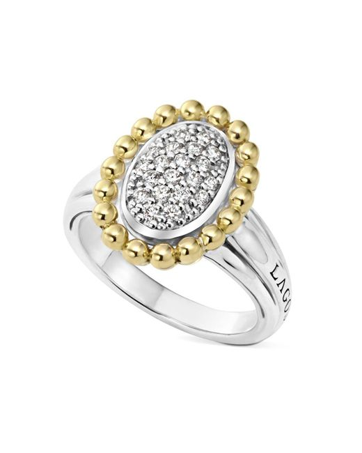 Lagos | Metallic Sterling Silver And 18k Gold Oval Diamond Ring With Caviar Beading | Lyst