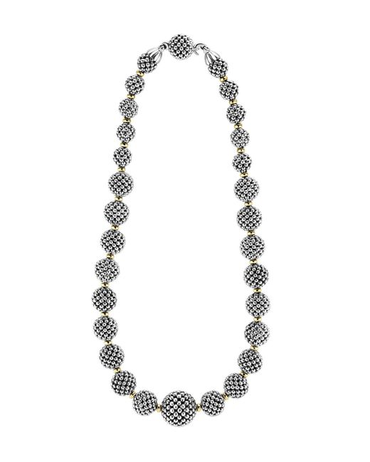 Lagos | Metallic Sterling Silver Caviar Necklace With 18k Gold, 17"