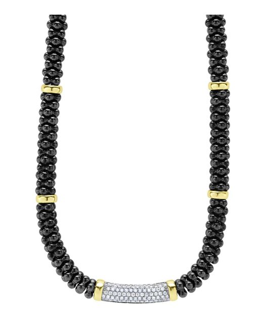 Lagos | Black Caviar Ceramic And Pave Diamond Necklace With 18k Gold Stations, 16"