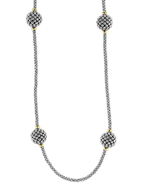 """Lagos   Metallic Sterling Silver Beaded Necklace With Caviar Stations, 32""""   Lyst"""