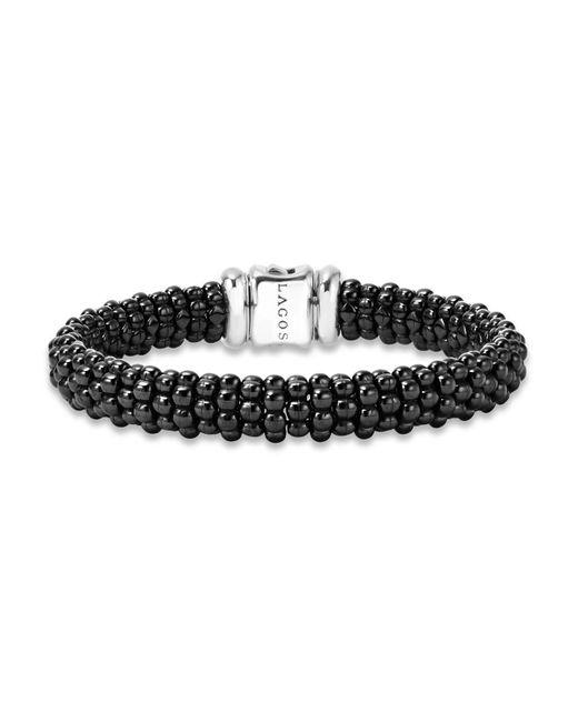 Lagos | Metallic Black Caviar Small Diamond Station Bracelet | Lyst