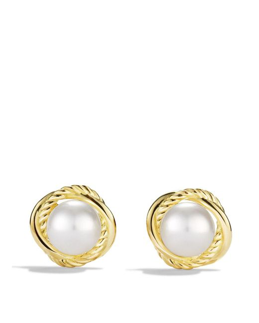 David Yurman   Metallic Infinity Earrings With Pearls In Gold   Lyst