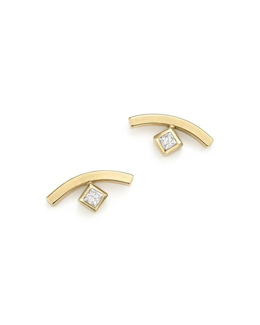 Zoe Chicco - Metallic 14k Yellow Gold Curved Bar Earrings With Bezel Set Diamonds - Lyst