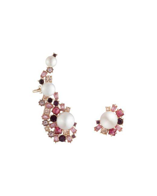 Carolee - Pink Cultured Freshwater Pearl Ear Crawler & Stud Earring Set - Lyst