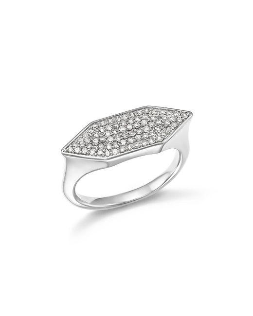 Adina Reyter | Metallic Sterling Silver Pavé Diamond Stretched Hexagon Signet Ring | Lyst
