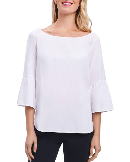Foxcroft - White Button-back Bell-sleeve Top - Lyst