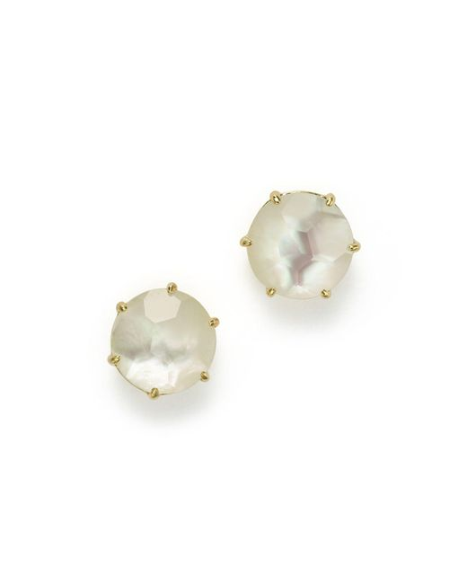 Ippolita | White 18k Gold Rock Candy® Medium Round Stud Earrings In Mother-of-pearl Doublet | Lyst