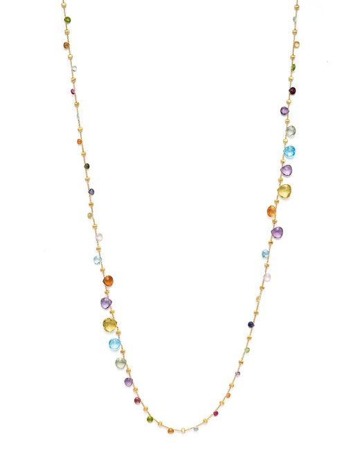 Marco Bicego | Multicolor 18k Yellow Gold Paradise Graduated Mixed Stone Necklace, 47.25"