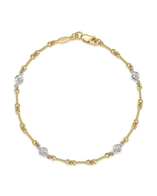 Roberto Coin | Metallic 18k Yellow Gold And Diamond Station Bracelet | Lyst