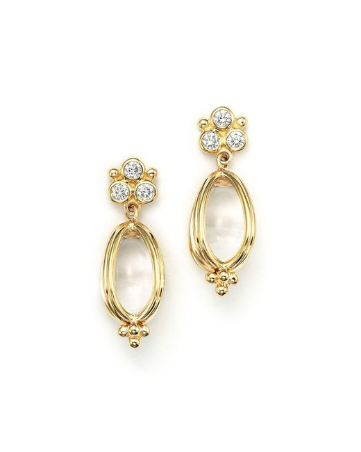 Temple St. Clair | Metallic 18k Gold Classic Amulet Earrings With Oval Rock Crystal And Diamonds | Lyst