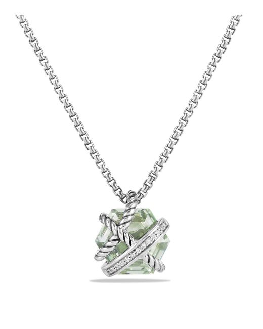 David Yurman | Metallic Petite Cable Wrap Necklace With Prasiolite And Diamonds | Lyst