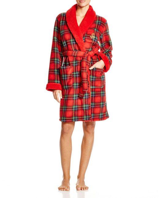Pink Pony | Red Lauren Bonded Sherpa Short Shawl Collar Robe | Lyst