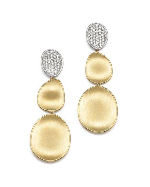 Marco Bicego | Metallic Diamond Lunaria Three Drop Large Earrings In 18k Yellow Gold | Lyst