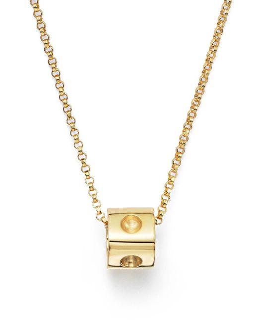 "Roberto Coin | Metallic 18k Yellow Gold Pois Moi Mini Cube Pendant Necklace, 16"" | Lyst"