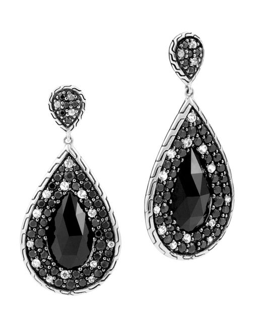 John Hardy | Batu Classic Chain Sterling Silver Drop Earrings With Black Chalcedony, Black Sapphire And White Sapphire | Lyst