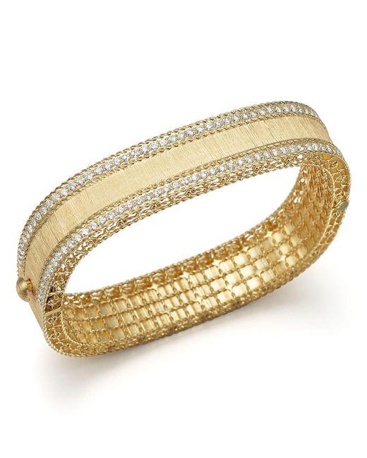 Roberto Coin | Metallic 18k Yellow Gold And Diamond Satin Princess Bangle | Lyst
