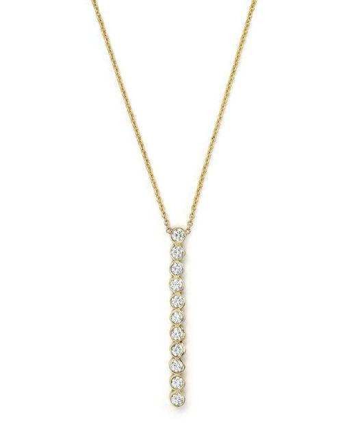 "Zoe Chicco | Metallic 14k Yellow Gold Bezel-set Vertical Bar Necklace With Diamonds, 18"" | Lyst"