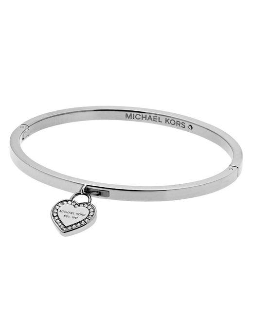 Michael Kors | Metallic Hinge Bangle With Heart Charm | Lyst