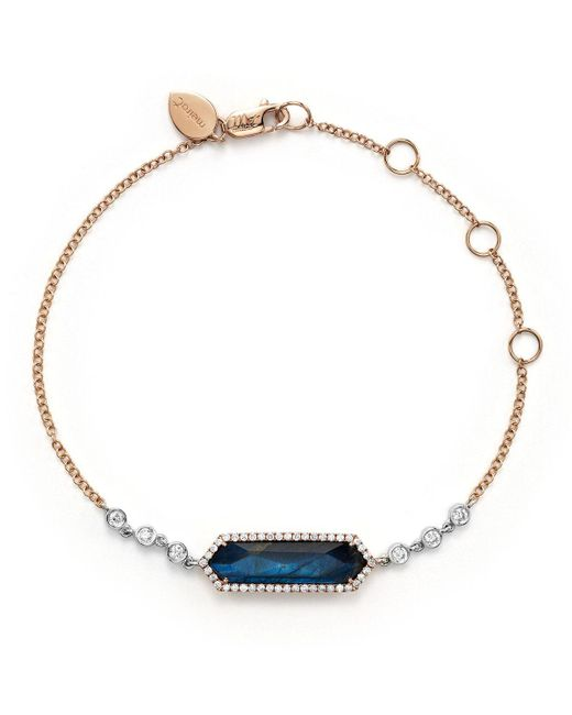 Meira T | 14k Rose Gold, Blue Labradorite And Onyx Bracelet With Diamonds | Lyst