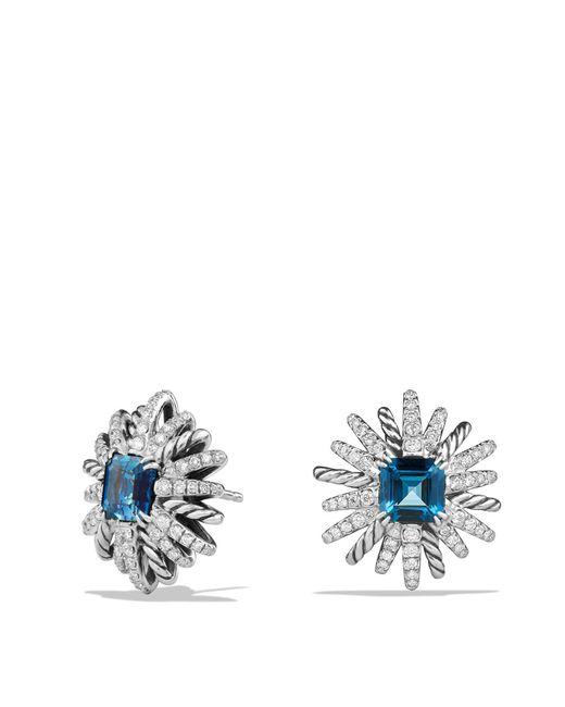 David Yurman | Metallic Starburst Earrings With Diamonds And Hampton Blue Topaz In Silver | Lyst