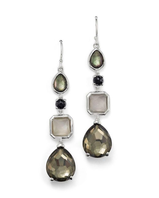 Ippolita | Multicolor Sterling Silver Rock Candy 4 Stone Linear Earrings In Black Tie | Lyst